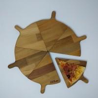 Affettato Ahşap Yuvarlak 6 Parça Pizza Sunum Tahtası