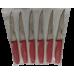 Samur Dişli Meyve Bıçağı 6'lı  Set Kırmızı